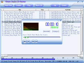 Burn your MP3,WMA,OGG and WAV files to CD audio tracks in seconds!