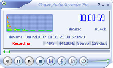 Click to view Power Audio Recorder Pro 2.00 screenshot